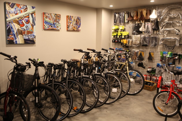 Ebikes fill a separate room at the rear of the store. Bernard said they often sell them in pairs to couples.