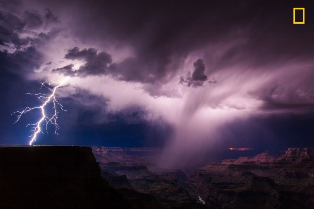 Photograph by Mike Olbinski Photography, 2017 National Geographic Nature Photographer of the Year. A summer thunderstorm unleashes lightning on the South Rim of the Grand Canyon.