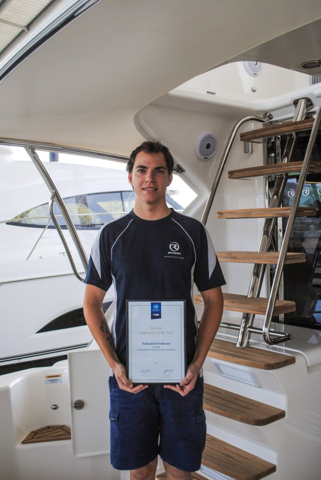 Fourth year apprentice winner Nathaniel D'Ambrosio is now a qualified boat builder. He was unable to attend the award presentation.