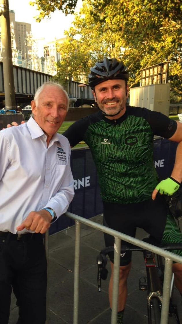 Nick with well-known cycling legend Phil Liggett. Image: Supplied