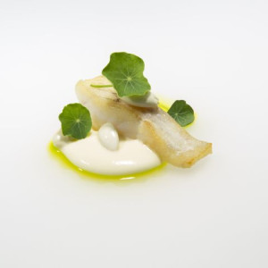 Murray Cod, with dutch cream anglaise, young almond, chive and nasturtium by Karl Firla, Oscillate Wildly.