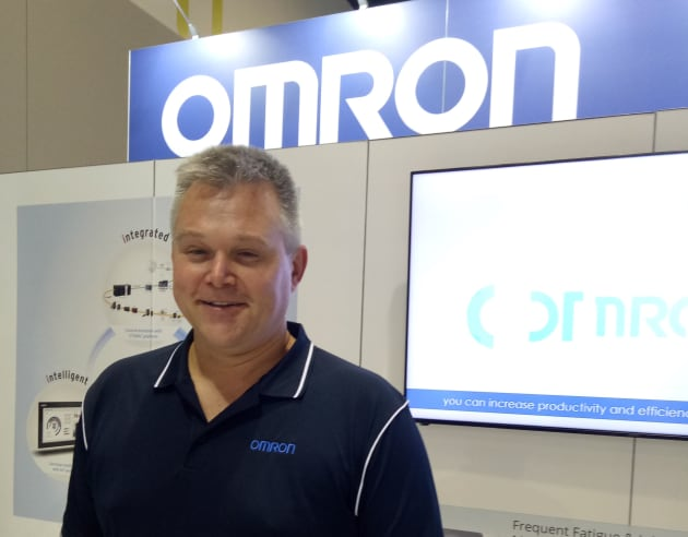 Omron's Chris Probst on the company's stand at Foodpro