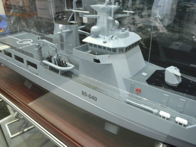 A model of Luerssen's OPV80 on display at Pacific 2017. Credit: ADM Patrick Durrant
