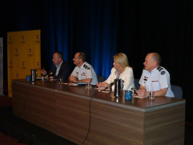 The Future CIS Capability panel: (L-R) Assistant Secretary ICT Architecture Peter Corcoran, Head Force Design AVM Mel Hupfield, director Telstra Defence Engagement Kathryn Jones, and HICTO AVM Andrew Dowse. Credit: ADM Patrick Durrant