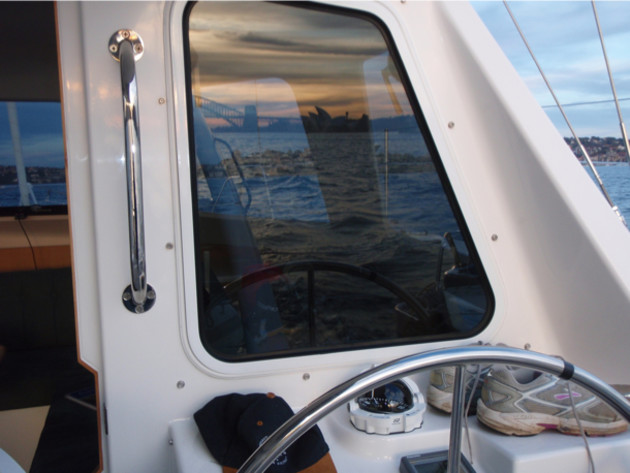 Visibility at the helm: the window here is acting as a rear view mirror!