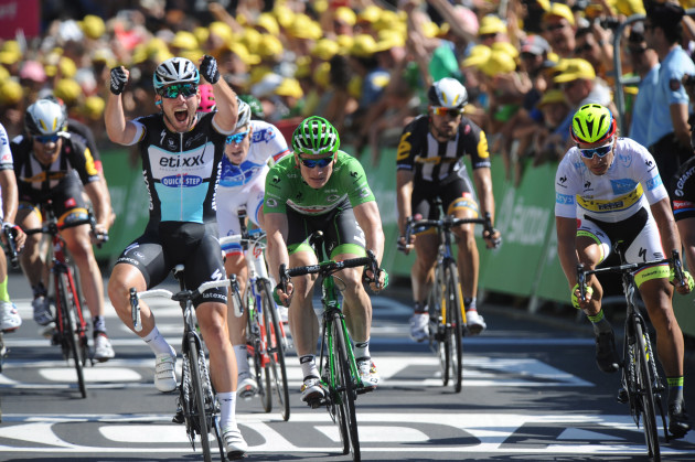 Cavendish winning stage 7 of the Tour de France this year. Also featured in this image is Peter Sagan and Andre Greipel. Photo by Sirotti.