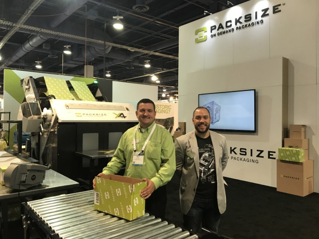 Wes Hayse and Kory Kollman of Packsize demonstrated the company's on-demand secondary packaging solution.