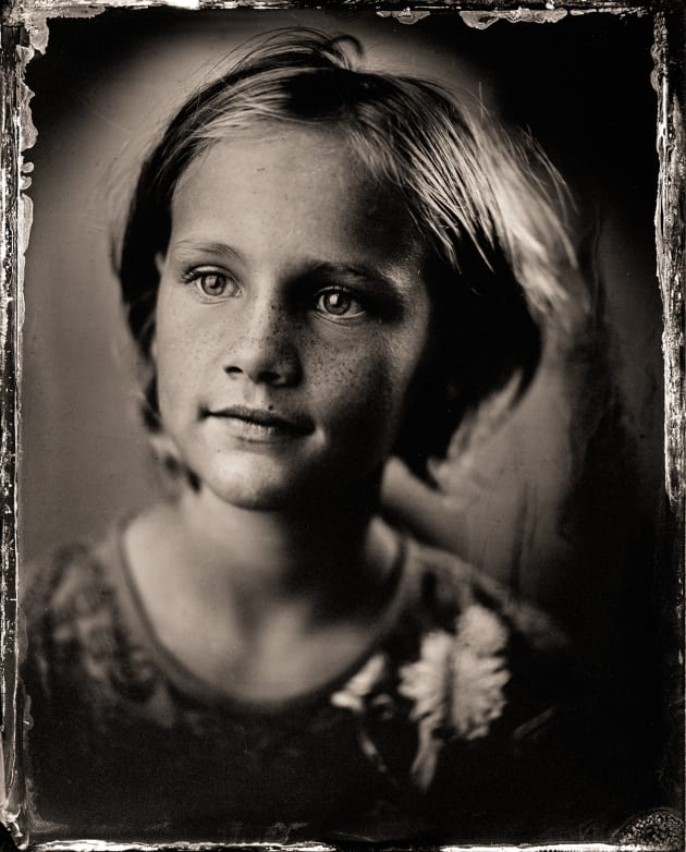 """M"" as a tintype. 4 x 5 inch direct positive, wet plate collodion on metal. © Paul Alsop."