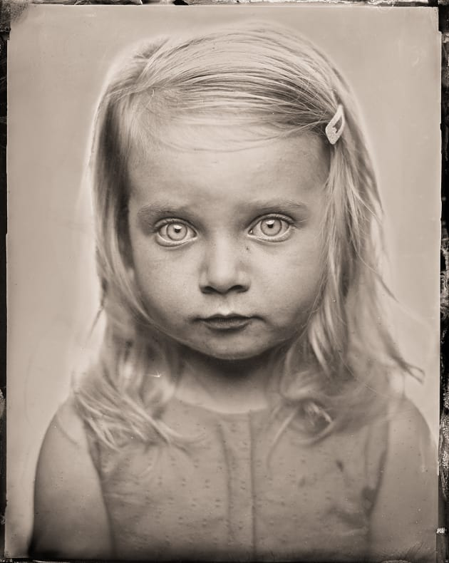 """S"" as a tintype. 4 x 5 inch direct positive, wet plate collodion on metal. © Paul Alsop."
