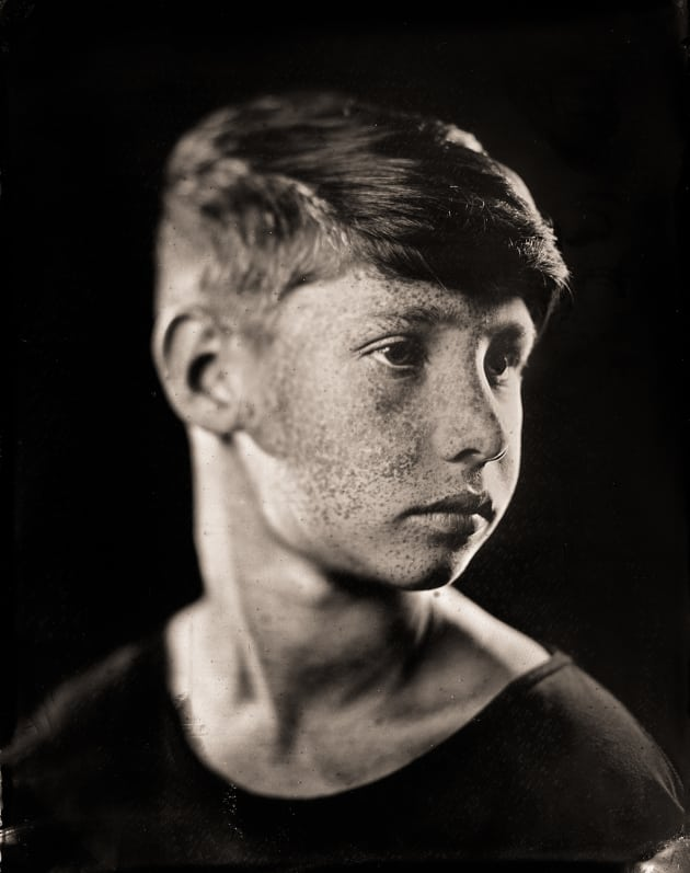 """M (boy)"" as a tintype. 4 x 5 inch direct positive, wet plate collodion on metal. © Paul Alsop."