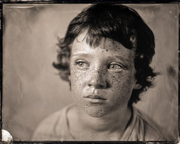 """H"" as an ambrotype 4 x 5 inch direct positive, wet plate collodion on glass. © Paul Alsop."