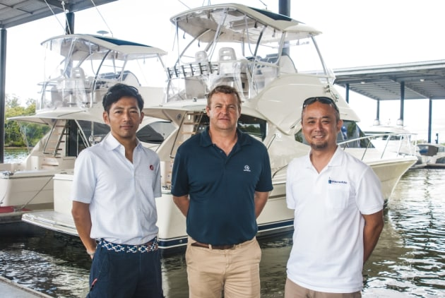 Riviera Dealer Relationship Manager Peter Welch with Unimat Precious representatives Mitsuru Ishii (left) and Futoshi Ninomiya.