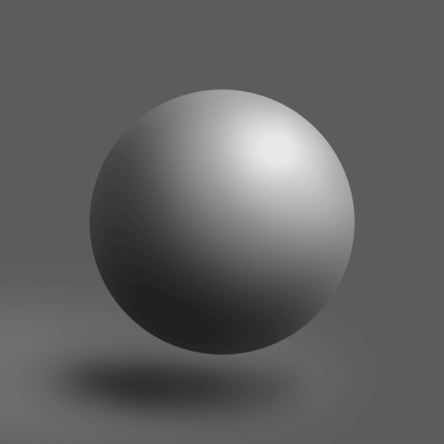 Example of the pressure sensitivity. Utilising the pressure sensitivity of the Wacom Intuos, Ancora created this ball shape using the Brush Tool in Photoshop.