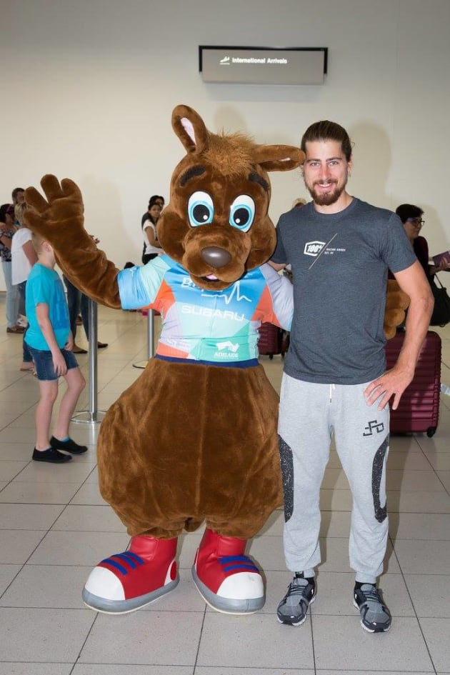 Peter Sagan meets 'Oppy', the Tour Down Under mascot.