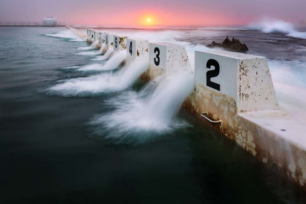 Timing is everything. Counting how many seconds it takes for water to flow over an object (like the blocks at Merewether Ocean Baths, pictured) will give you the perfect shutter speed for the motion. Then just be patient and wait for the right moment to open the shutter. Canon EOS 5D Mark III, 16-35mm f4L lens, 0.3s @ f/13, ISO 100, tripod.