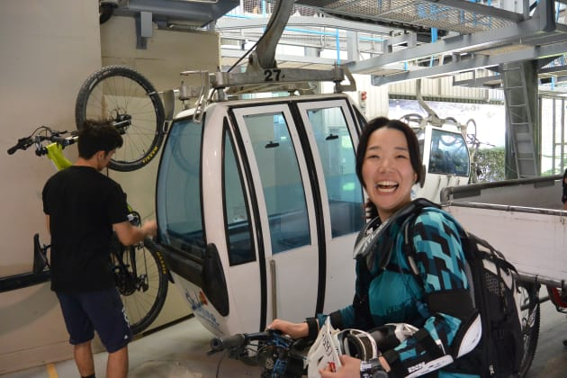 Ayumi from Japan gets ready to squeal some more on the Skyline Gondola trails.