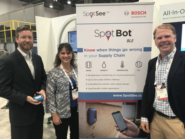 Scott McClelland of Bosch with SpotSee's Angela Kerr and Tyson Stuelpe. SpotSee has teamed up with Bosch to launch SpotBot BLE, targeting the internet of logistics as a packaging monitoring solution.