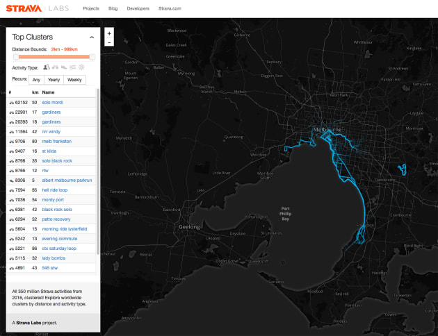 Strava Labs offer all manner of information including cluster maps of ride activities.