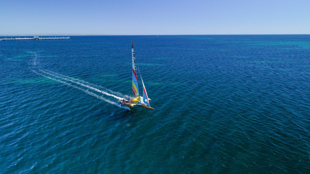 SuperFoiler with the Busselton Jetty in the background. Photo Rob Norman.