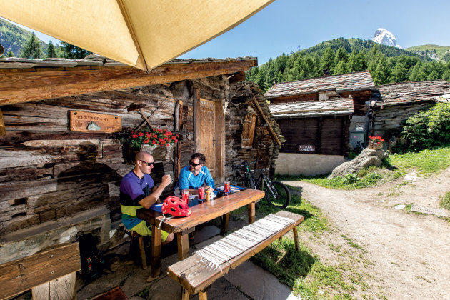Stopping for lunch at a rustic restaurant above Zermatt.