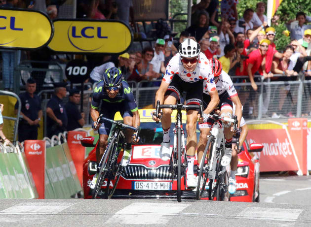 Warren Barguil enjoys his Bastille Day win in the ancient town of Foix. Image: Sirotti.