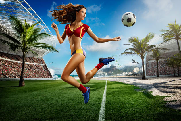 For soccer calendar commissioned by Tecate. Digital imaging, compositing: Mike Campau. © Tim Tadder.