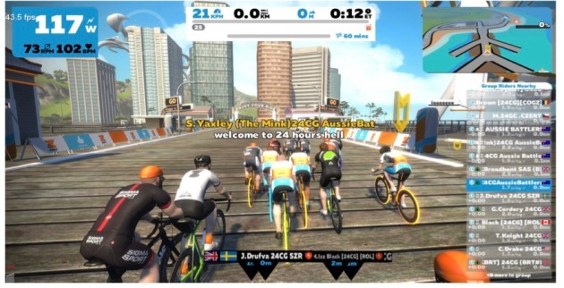 Sharron lining up for the start of the Chaingang 24hr endurance challenge on Zwift.