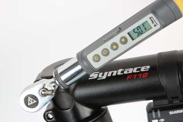 With modern lightweight components, it's really important to tighten any bolts to the correct torque rating. Investing in a torque wrench can make the difference between finishing at the caffe and snapping a handlebar because the stem was over-tightened!