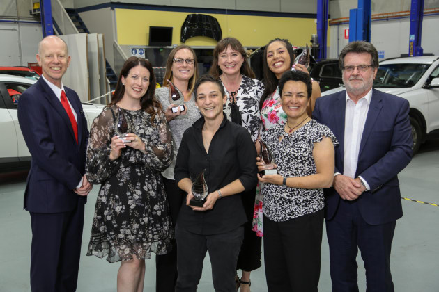 From left: Anthony Boddy, IAG; Kate Presnell, Gary Presnell Bodyworks; Joanne Stavris, Gow St Audobody; Lara Anastasi, L&M Smash; Sam Street; Perlita Puruto, Workhorse Collision Repairs; Corinne Verdile, Wayne Phipps Smash Repairs; Stephen Palmer, IAG