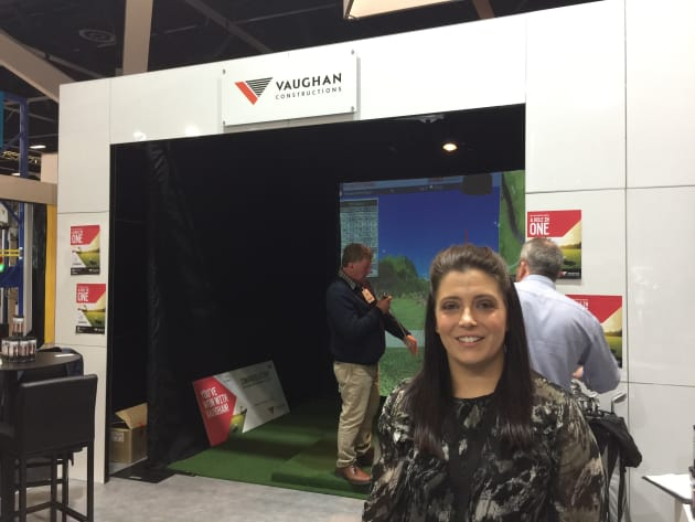 At Vaughan Constructions' stand, there was a bit of fun to be had with an interactive golf game, with the visitor to get the closest to a hole-in-one is in line to win a trip to Tassie.  The company has been working on a number of projects, Vaughan's Colette De Maria said, including an expansion of the Melbourne operations of wholesale grocery company PFD Food Services.
