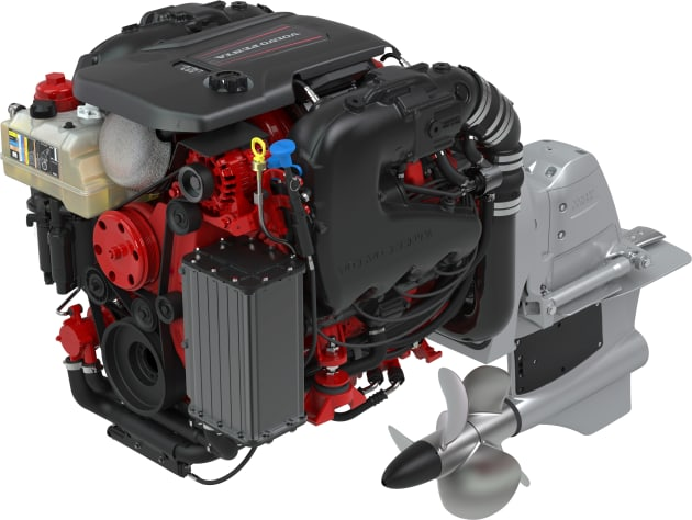Volvo Penta's new V8-430hp petrol engine with forward drive.