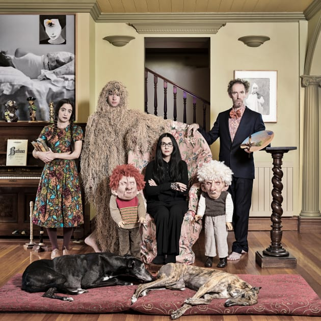© Anne Zahalka. The Papapetrou Family, 2017. Dye sublimation on Chromalux metal, 80 x 80cm. Courtesy of ARC ONE Gallery, Melbourne. Judge's High Commendation, 2017 Olive Cotton Award. Director's Choice acquisition, 2017 Olive Cotton Award Tweed Regional Gallery Collection.