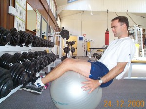 Hiking leg extensions on a swiss ball.