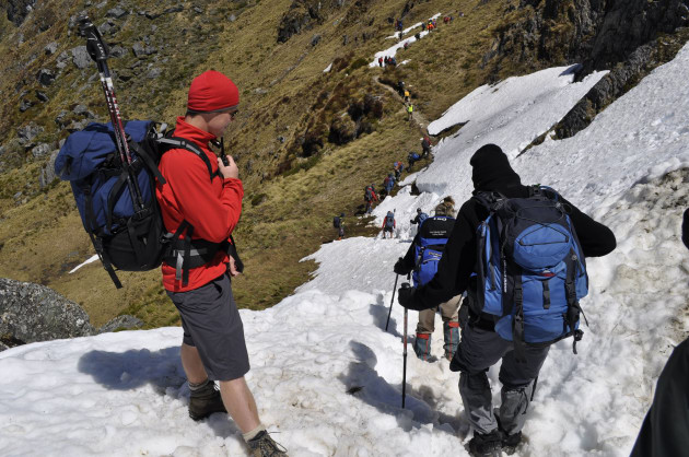 An Ultimate Hikes guide makes sure everyone crosses Harris Saddle safely.