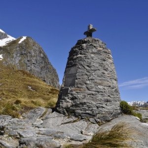 The memorial to explorer Quintin Mckinnon at the top of the pass.