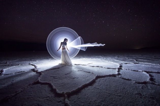 © Eric Paré. Light painting at the Badwater Basin in Death Valley, California, with Kim Henry.