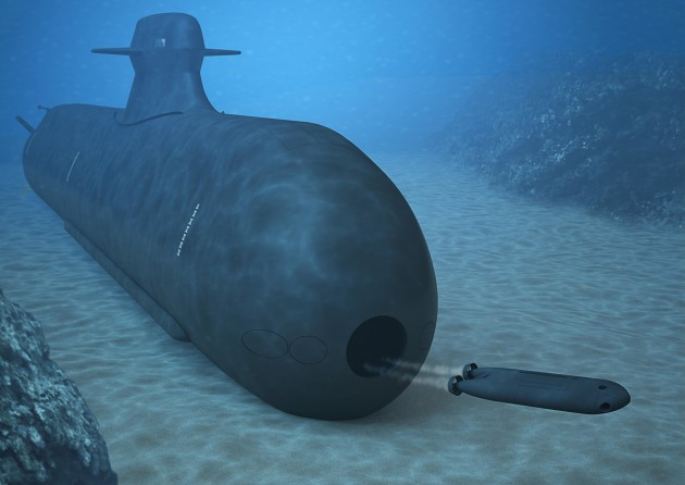 Concept art of an unmanned underwater vehicle deploying from a submarine.