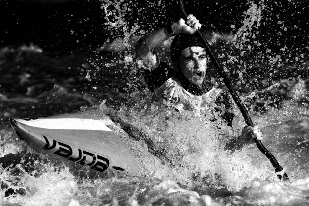 © Cameron Spencer. George Pankhurst of Australia competes in the K1 Men's Invitational during the 2019 Australian Canoe Slalom Open at Penrith Whitewater Stadium on February 17, 2019 in Penrith, Australia.