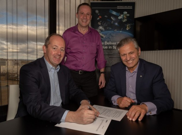 Nicolas Chamussy, Head of Space Systems Airbus, Peter Nikoloff, co-founder of Nova Group, and Professor Andy Koronios of UniSA announce the CRC commitment. Airbus