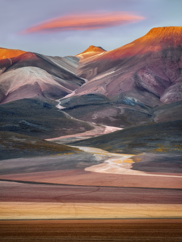 © Ignacio Palacios. Seven Color Mountain, Bolivian Altiplano. A composite image taken at sunrise during a photography workshop.