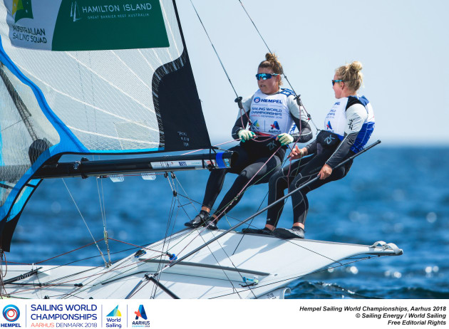 Annie Wilmot (L) and Natasha Bryant PHOTO Pedro Martinez World Sailing.