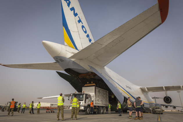 An Antonov Airlines AN-124-100M at Australia's main operating base in the Middle East. Credit: Defence