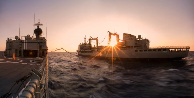 HMAS Anzac and Success replenishing at sea during the passage from the Philippines to Vietnam.  Credit: Defence