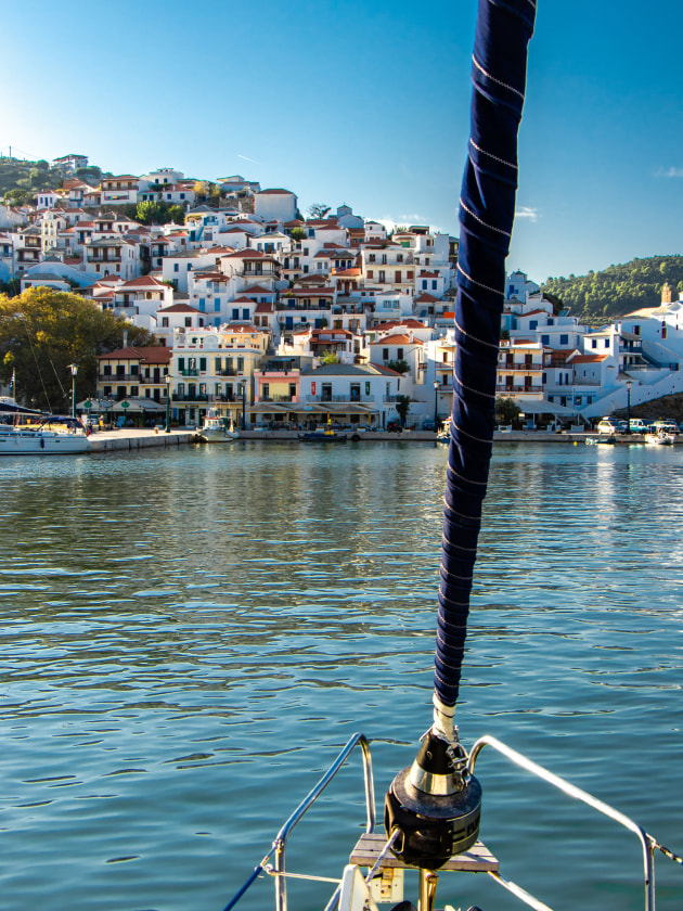 Cruising the Greek Islands with Mariner Boating - approach to Skiathos.