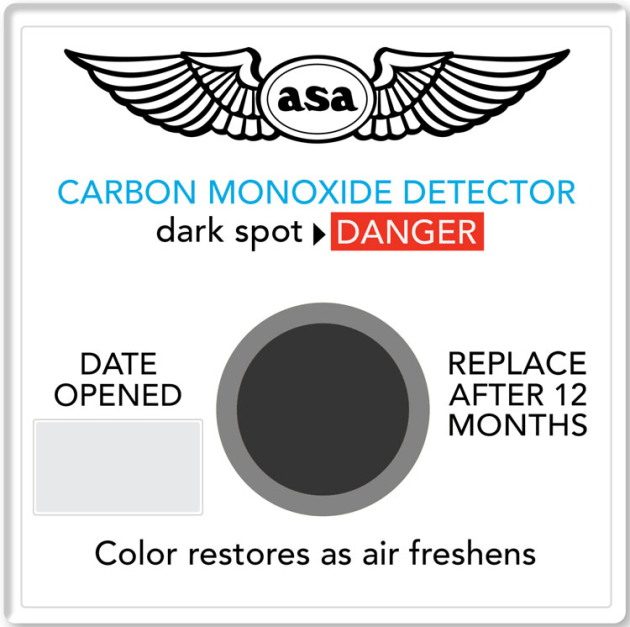 The ASA carbon dioxide detector turns grey/black in the centre when high CO2 levels are present in a cockpit. (ASA)
