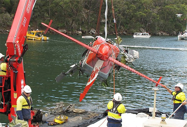 VH-NOO is hoisted out of the water. (ATSB)