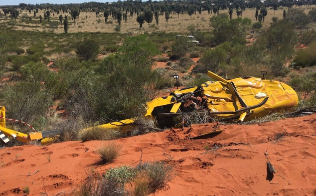 The R44 crash site at Yulara. (NT Police)