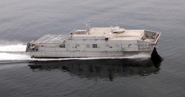 The ships can operate in shallow-draft ports and waterways, interface with roll-on/roll-off discharge facilities, and on/off-load a combat-loaded Abrams Main Battle Tank (M1A2). Credit: Austal