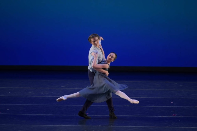Students from The Australian Ballet School, Lilly Maskery and Jett Ramsey, performing 'The Suitor', by Stephen Baynes. Photo VAM Productions.