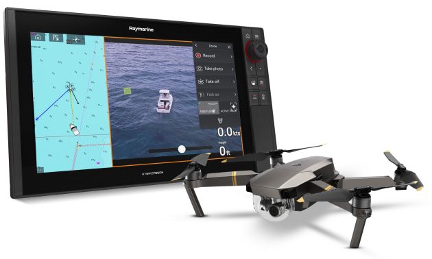 Raymarine's Axiom UAV app integrates aerial imaging from a DJI Mavic Pro drone with a boat's MFD.